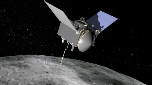 Wir kriegen Daten! Künstlerische Darstellung von OSIRIS-REx und Bennu (Bild: NASA/GSFC, gemeinfrei)
