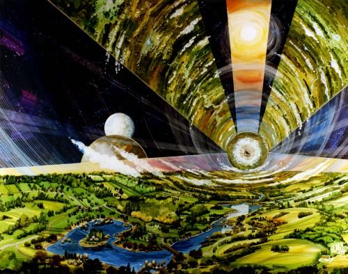 Künstlerische Darstellung eines O'Neill-Zylinders (Bild: NASA)