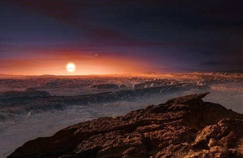 So könnte Proxima Centauri von der Oberfläche seines Planeten aus aussehen (Künstlerische Darstellung: ESO/M. Kornmesser)