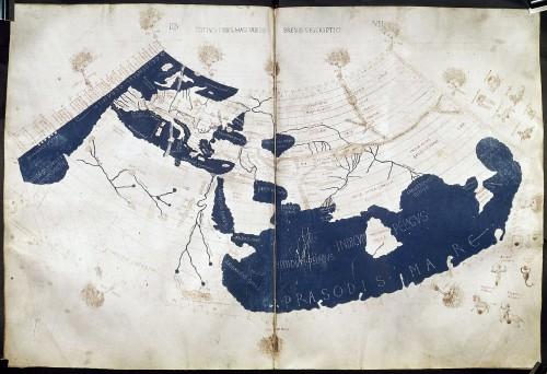 Die Ptolemäische Weltkarte. Die Verzerrung in Ost-West-Richtung ist an Großbritannien, Dänemark und Italien gut zu erkennen. (Bild: British Library, Public Domain)