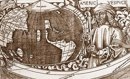 Amerigo Vespucci auf einer Vignette der Waldseemüller-Karte. (Bild: Wikipedia, Gemeinfrei