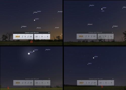 Der Planet Jupiter von 2014 bis 2017 jeweils am 15 Mai um 22 Uhr