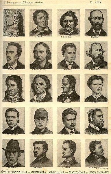 """So sehen Kriminelle nach Lombroso aus - Eine Seite aus seinem Werk """"L'Uomo Delinquente"""" (Bild: Public Domain)"""