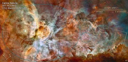 Eine Übersicht über den Carinanebel, Public domain by NASA, STScl and ESA, Link: https://commons.wikimedia.org/wiki/File:NGC_3372d.jpg