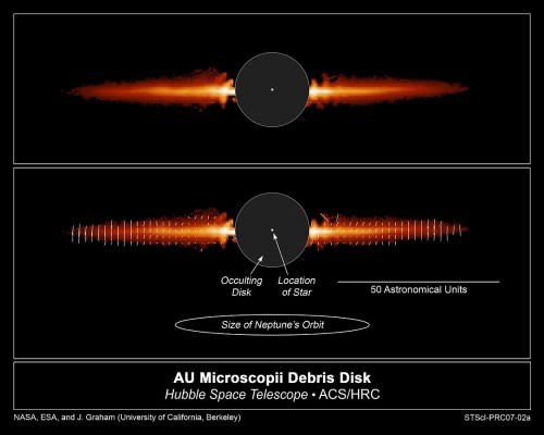 Trümmerscheibe von AU Mic (Bild: NASA, ESA, J. R. Graham and P. Kalas (University of California, Berkeley), and B. Matthews (Hertzberg Institute of Astrophysics))