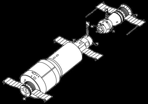 Zeichnung von Saljut 1 mit andockendem Sojus-Raumschiff (Bild: gemeinfrei)