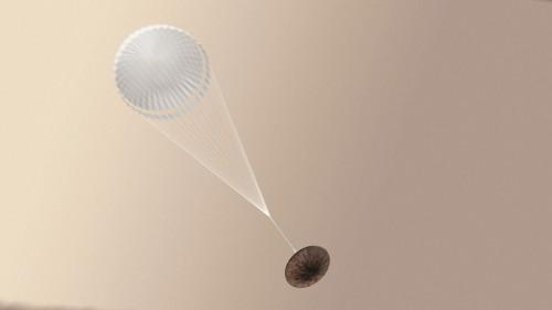 Schiaparelli landet (Künstlerische Darstellung: ESA/ATG medialab)