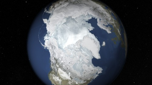 Eis gibt es zur Zeit nur an den Polen der Erde. Früher war das anders... (Bild: NASA's Goddard Space Flight Center)