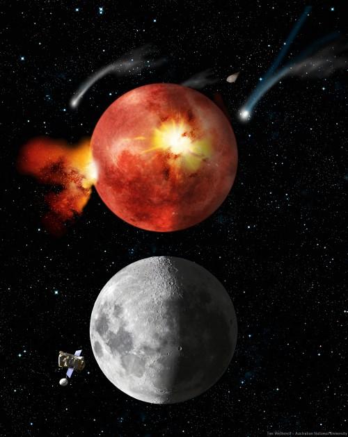 Früher (oben) war noch mehr los am Mond als heute (unten)Bild: Tim Wetherell - Australian National University, CC-BY-SA 3.0