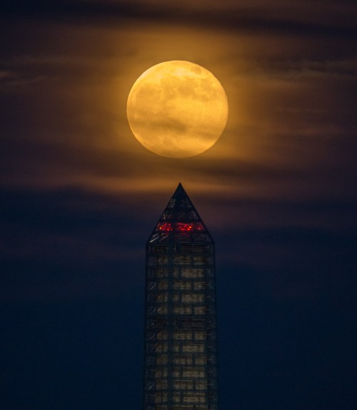 "Ein ""Supermond"" vor dem Washington Monument (Bild: NASA/Bill Ingalls, CC-BY-NC-ND 2.0)"