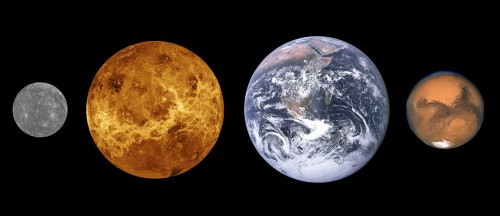 Die vier erdähnlichen Planeten des Sonnensystems (Bild: NASA)