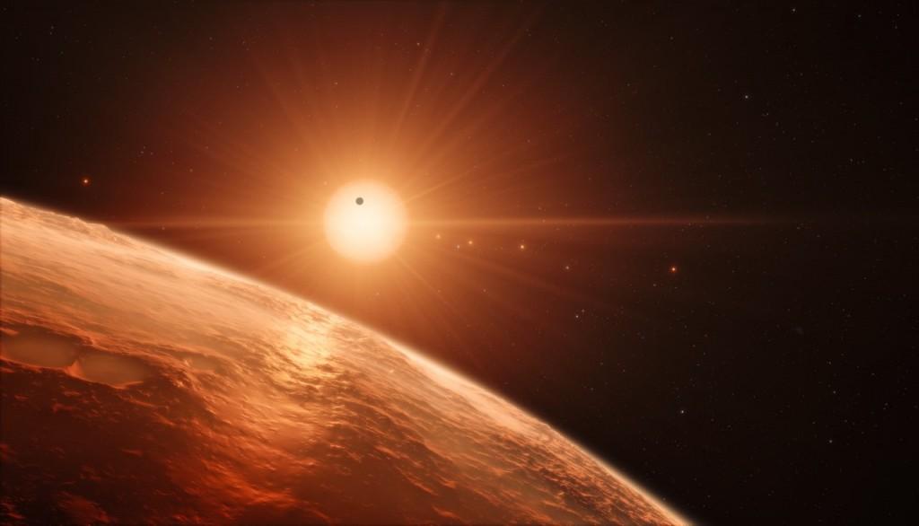 Künstlerische Darstellung von Trappist-1 und seinen Planeten (Credit: ESO/M. Kornmesser/spaceengine.org)