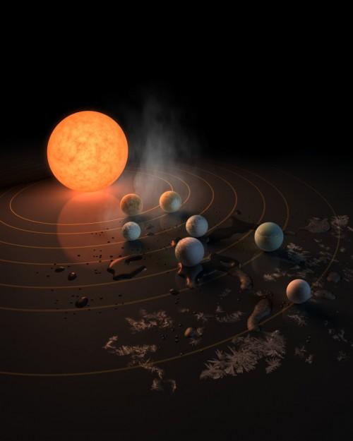 Sieben fremde Welten bei TRAPPIST-1... Credit: NASA/R. Hurt/T. Pyle