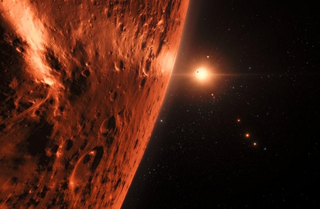 So könnte der Blick von einem Planeten auf Trappist-1 aussehen (Bild: ESO/N. Bartmann/spaceengine.org)