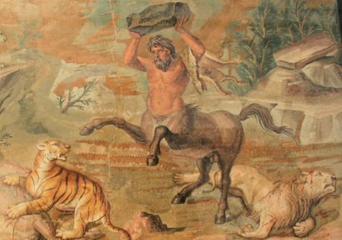 Ein Zentaur aus der griechischen Mythologie: Halb Mensch, halb Pferd.  Ob der Stein in seinen Händen auch ein Zentaur ist, ist unbekannt (Bild: gemeinfrei)