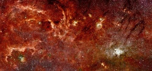 Blick ins Zentrum der Galaxis (Hubble: NASA, ESA, and Q.D. Wang (University of Massachusetts, Amherst); Spitzer: NASA, Jet Propulsion Laboratory, and S. Stolovy (Spitzer Science Center/Caltech))