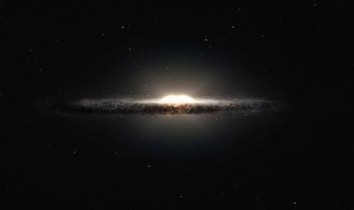 Künstlerische Darstellung der Milchstraße mit Scheibe und dem Bulge im Zentrum (Bild: ESO/NASA/JPL-Caltech/M. Kornmesser/R. Hurt)