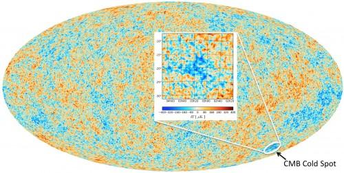 """Die Temperaturverteilung der kosmischen Hintergrundstrahlung und der """"kalte Fleck"""" (ESA and Durham University)"""