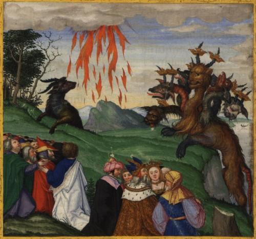 Das jüngste Gericht lässt noch auf sich warten (Bild: Ottheinrich-Bibel, Bayerische Staatsbibliothek, Cgm 8010, gemeinfrei)