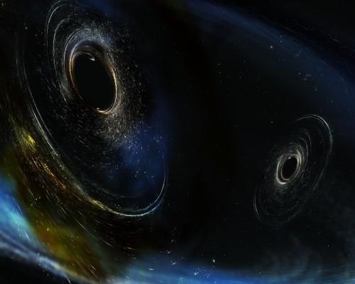 IKollidierende schwarze Löcher erzeugen Gravitationswellen! Ich nehm das Bild jetzt immer wenn es um schwarze Löcher geht! Die Illustration gefällt mir! (Bild: IGO/Caltech/MIT/Sonoma State (Aurore Simonnet))