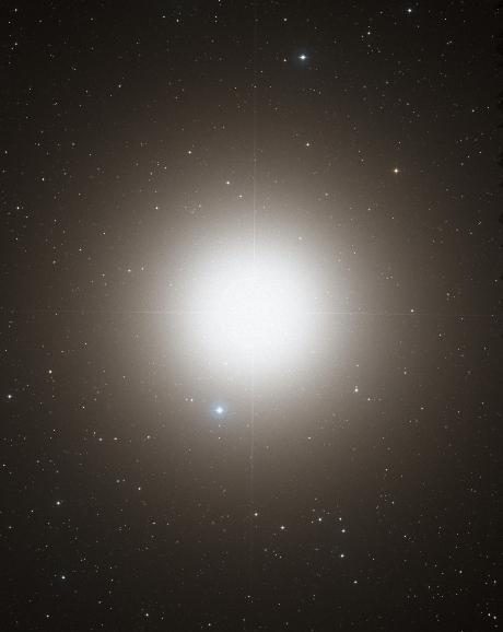 Arktur, wie er im optischen Licht im Digitized Sky Survey 2 zu sehen ist (Bild: STSI/NASA)