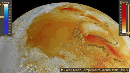 Temperaturtrend in der Arktis von 1981 bis 2009. Je röter, desto wärmer... (Bild: NASA/Goddard Space Flight Center Scientific Visualization Studio)