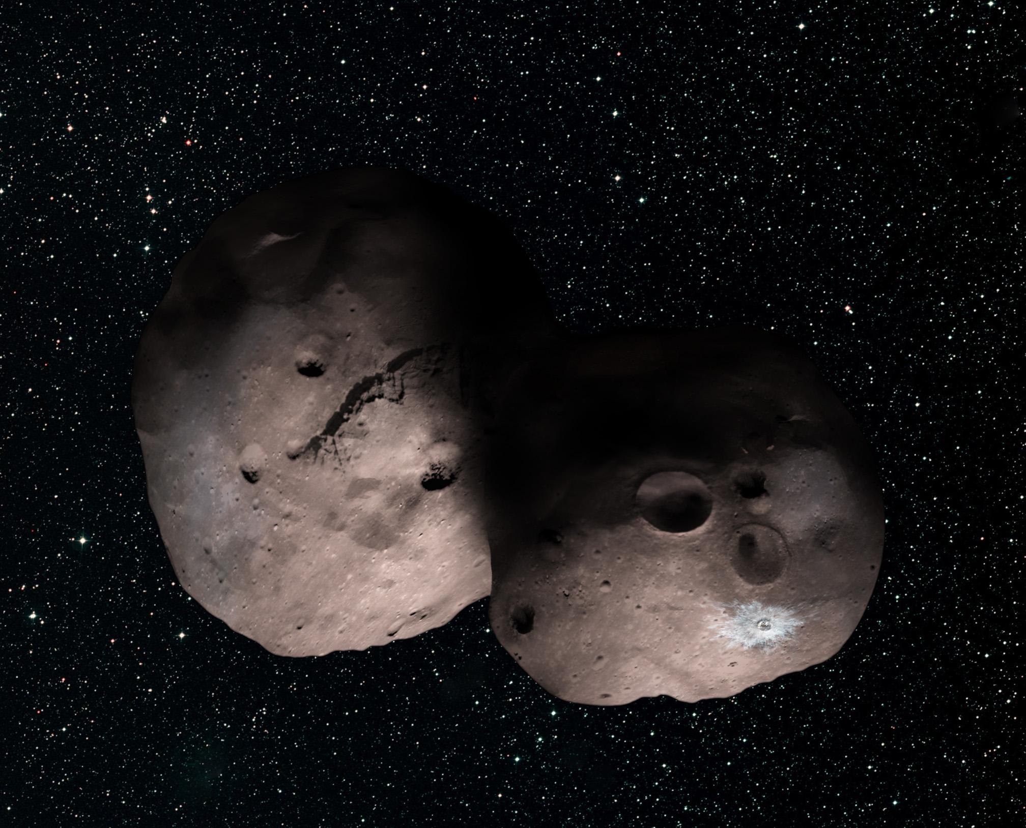 Künstlerische Darstellung der möglichen Form von 2014 MU69 (Bild: NASA/JHUAPL/SwRI/Alex Parker)