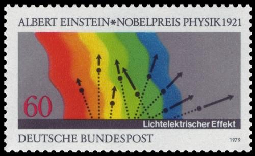 In Stockholm anerkannt: Auch Einstein hatte recht: Lichtquanten lösen Elektronen aus einer Oberfläche! (gemeinfrei)