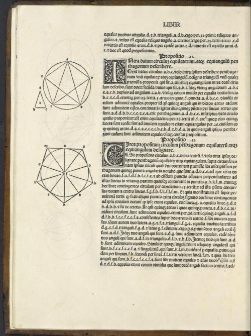 """Euklids Konstruktion des regelmäßigen Fünfecks. Diese Übersetzung aus dem 12. Jahrhundert des Adelard von Bath verwendet die Formulierung """"hoc est quod proposuimus"""" statt """"quod erat demonstrandum""""."""