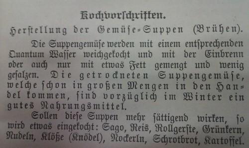 Viele Vegetraier/innen im 19. Jahrhundert aßen sehr einfach (aus: Kantisár: Wie die österreichschen Vegetarier kochen. 1899: 27, gemeinfrei)