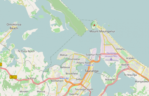 Map of Tauranga City and surroundings, New Zealand (Image: Open Street Map)