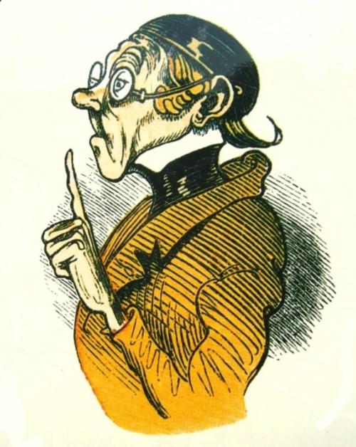 Lehrer Lämpel bittet um Aufmerksamkeit Urheber: Wilhelm Busch, public domain