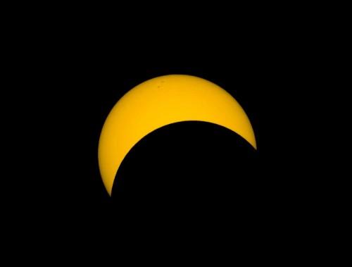 Nach ca. 50 Minuten ist mehr als die Hälfte der Sonne bedeckt, © Autor