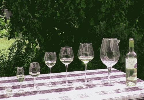Weinprobe nach der Mehrglasmethode. Das größte Gefäß rechts ist eine Karaffe. (Bildquelle: Autor)