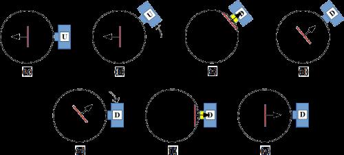 Abb. 15: Beispielhafte Zerstörung (15.b bis 15.d) des präparierten Zustandes (15.a) durch eine Spin-Messung aus einer anderen Richtung (hier ca. 40°). Eine erneute Messung aus der Ursprungsrichtung (15.e bis 15.g) hat somit zwangsläufig andere Messwahrscheinlichkeiten als direkt nach der Präparation.
