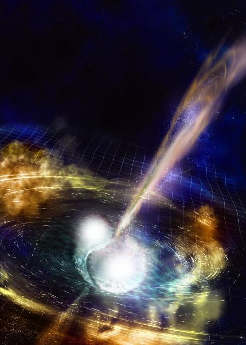 Verschmelzende Neutronensterne machen Astronominnen und Astronomen überall auf der Welt sehr glücklich! (NSF/LIGO/Sonoma State University/A. Simonnet)