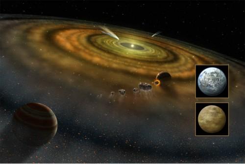 Große Himmelskörper machen und beeinflussen Staub (Künstlerische Darstellung von Beta Pictoris: NASA/FUSE/Lynette Cook)