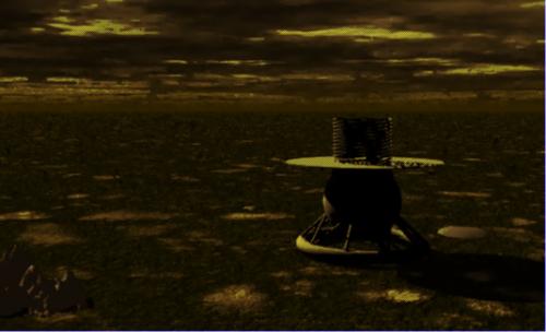 Künstlerische Darstellung von Venera 9 auf der Oberfläche der Venus (Bild: gemeinfrei)