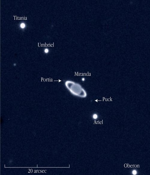 Uranus und einige seiner Monde im Infrarotlicht (Bild: ESO)