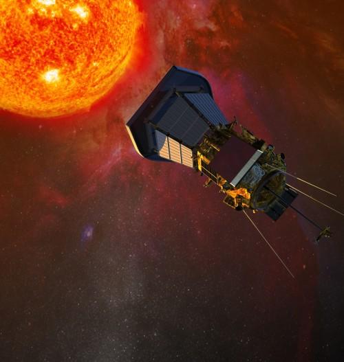 Künstlerische Darstellung der Parker Solar Probe (Bild: NASA/JHU/APL, CC-BY 2.0)