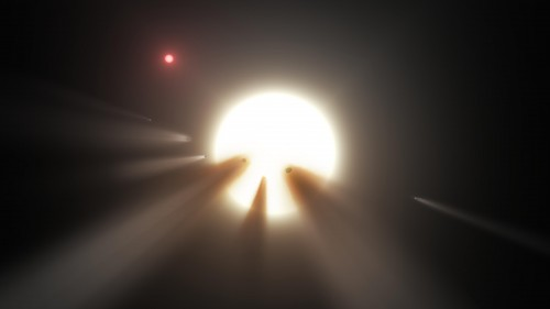 Staubige Kometen und ein Stern (Künstlerische Darstellung: NASA/JPL-Caltech)