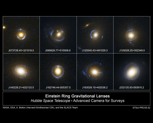 Einsteinringe...  (Bild: NASA, ESA, and the SLACS Survey team: A. Bolton (Harvard/ Smithsonian), S. Burles (MIT), L. Koopmans (Kapteyn), T. Treu (UCSB), and L. Moustakas (JPL/Caltech))