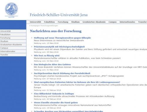 Wissenschaft lässt sich auch anders präsentieren... (Screenshot: https://www.uni-jena.de/Forschungsmeldungen.html)