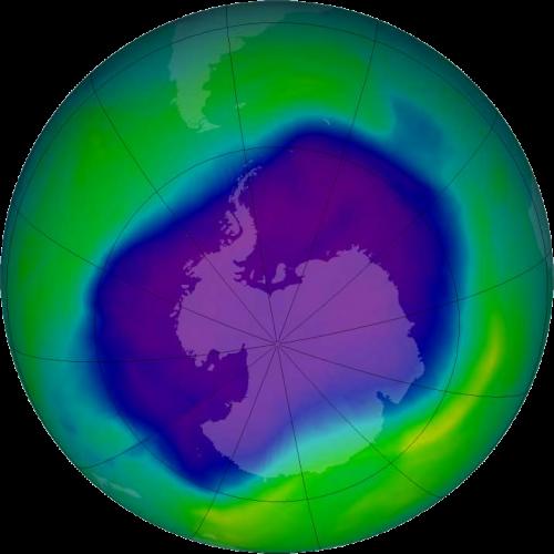 Größte Ausdehnung des Ozonlochs im Jahr 2006 (Bild: NASA, gemeinfrei)