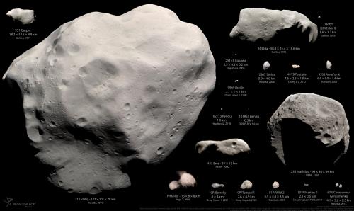 Bilder aller bisher von Raumsonden besuchten Kleinkörper - mit Ausnahme von Ceres, Vesta, Pluto und Charon die zu groß für den Maßstab des Bildes sind (Bild: Montage by Emily Lakdawalla. Data from NASA / JPL / JHUAPL / UMD / JAXA / ESA / OSIRIS team / Russian Academy of Sciences / China National Space Agency. Processed by Emily Lakdawalla, Daniel Machacek, Ted Stryk, Gordan Ugarkovic., CC-BY-NC-SA 3.0)