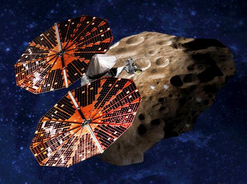 Lucy (Künstlerische Darstellung: NASA, SwRI and SSL/Peter Rubin)