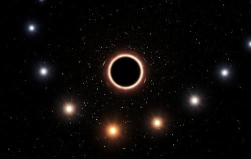 Farbänderung eines Sterns beim Vorbeiflug an einem schwarzen Loch (Künstlerische Darstellung: ESO/M. Kornmesser)