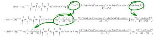 Durch eine Eigenschaft der Exponentialfunktion lässt sich ein weiterer Faktor aus dem Integral ziehen. Beim Aufteilen der Summe müssen natürlich beide Teile den Bruchstrich mitnehmen. (selbstgemacht)