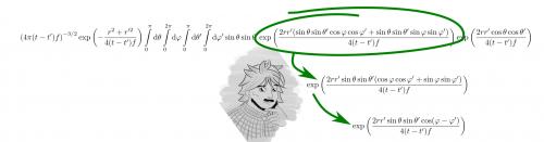 Gemeinsame Faktoren in einer Summe kann man ausklammern. Die restliche Summe kann mit einem sogenannten Additionstheorem vereinfacht werden. Additionstheoreme sind Regeln für Summen von trigonometrischen Funktionen wie Cosinus und Sinus. (selbstgemacht)