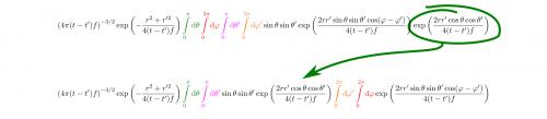 Bei der Auswertung mehrerer verschachtelter Integrale kann die Reihenfolge beliebig vertauscht werden, wenn die Grenzen nicht voneinander abhängig sind. Das bedeutet auch, dass ich Teile, die nur von manchen der Integrationsvariablen abhängen, an den Integralen vorbeiziehen kann, von denen sie nicht abhängen. (selbstgemacht)
